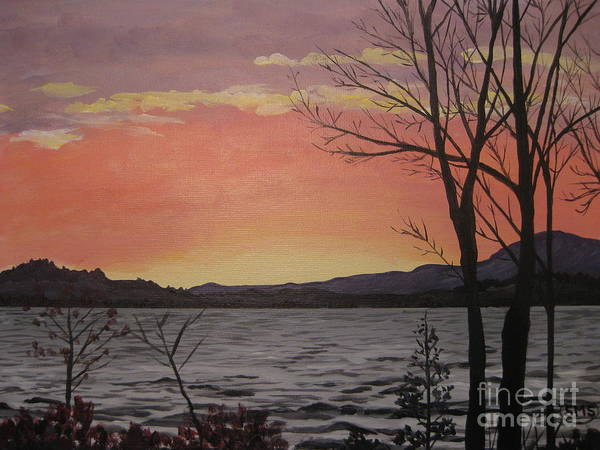 Painting - Caucomgomoc Lake Sunset In Maine by Stella Sherman