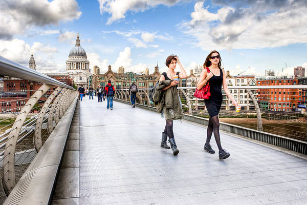 Photograph - Caught In A Moment On London Millennium Bridge by Mark Tisdale