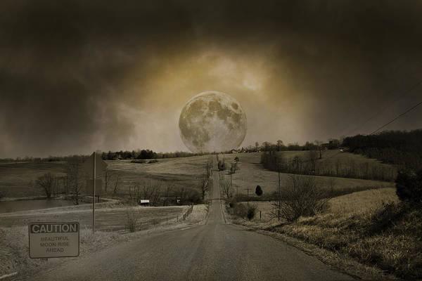 Moonscape Photograph - Caution Road by Betsy Knapp