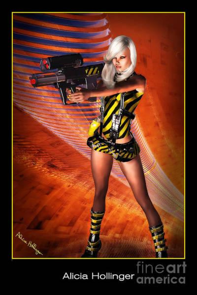 Caution Sci-fi Blonde With A Gun Art Print