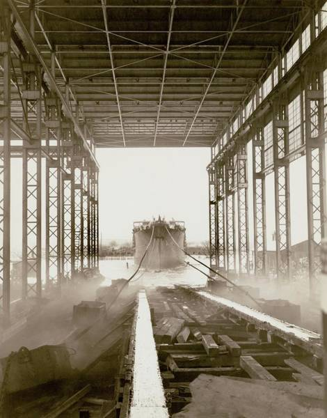 Wilmington Delaware Wall Art - Photograph - Cavalier Cargo Ship Launch by Hagley Museum And Archive