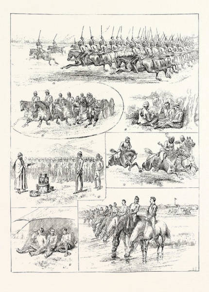 Wall Art - Drawing - Cavalry Manoeuvres Of The Bangalore Division Madras by Indian School