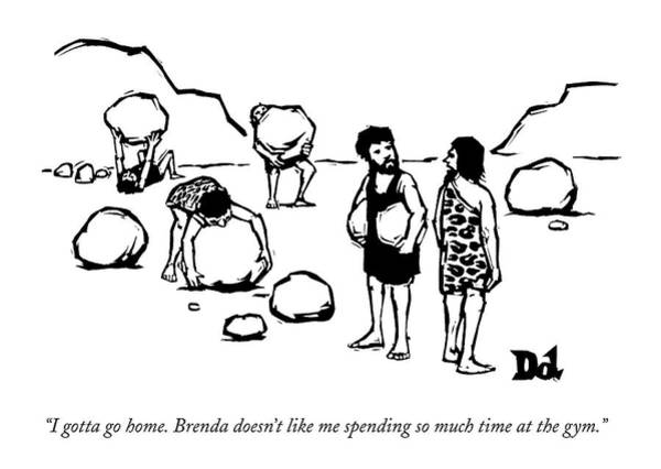 At Home Drawing - Cave Men Lift Giant Boulders by Drew Dernavich