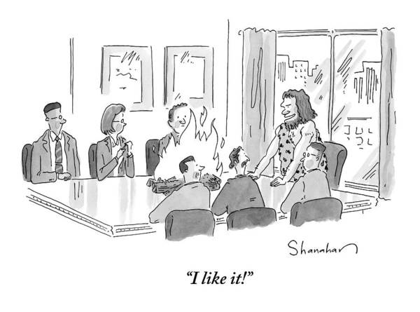 Cave Dwellers Drawing - Caveman Stands At Head Of Table In Boardroom by Danny Shanahan