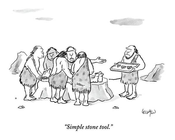 Stone Drawing - Cavemen Perform Surgery On Another Caveman by Robert Leighton