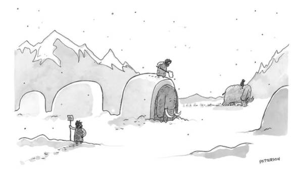 February 14th Drawing - Cavemen Shoveling Out Their Woolly Mammoths by Jason Patterson