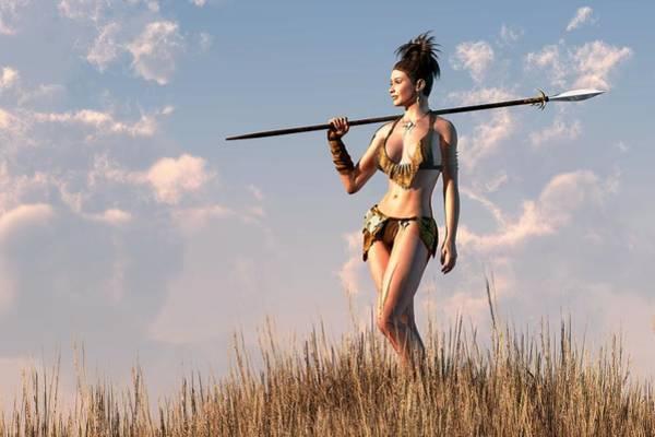 Valkyrie Digital Art - Cavewoman by Kaylee Mason