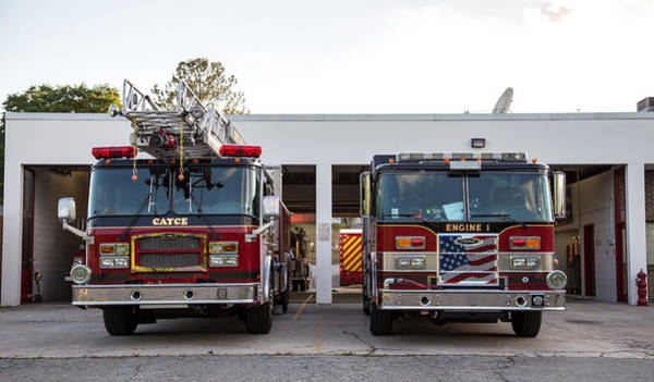 Photograph - Cayce Fire Trucks-1 by Charles Hite