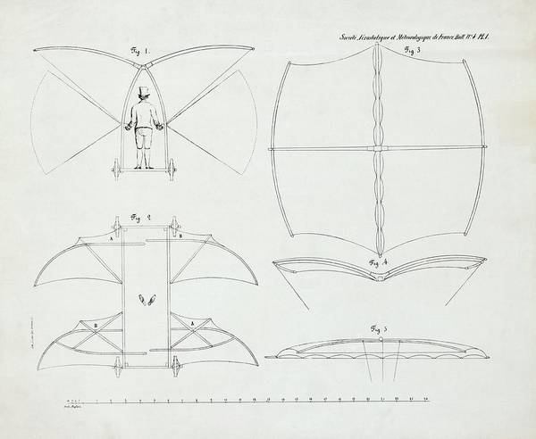 Wall Art - Photograph - Cayley's Flying Machine Design by Library Of Congress/science Photo Library