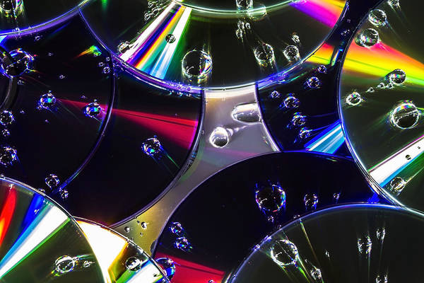 Photograph - Cd's And Water Drops by Sven Brogren