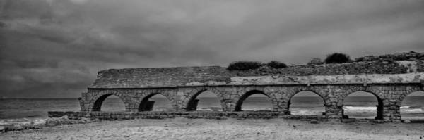 Photograph - Ceasarea Aqueduct 1 Bw by Mark Fuller