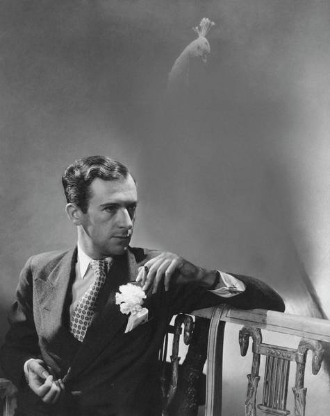 Real People Photograph - Cecil Beaton Smoking A Cigarette by Lusha Nelson