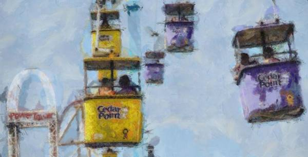 Thrilling Painting - Cedar Point Aerial Tram by Dan Sproul