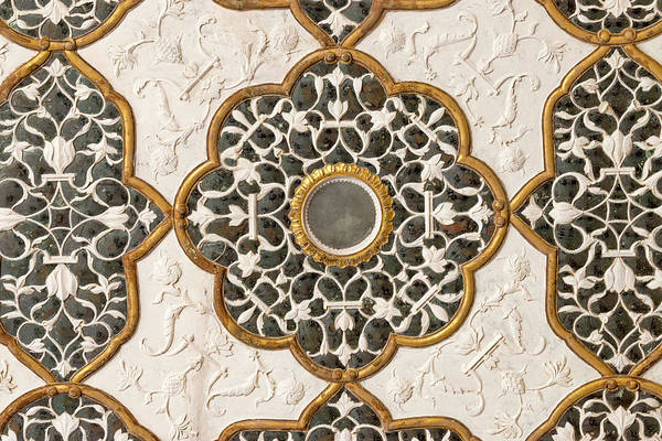 Wall Art - Photograph - Ceiling Detail Diwan-i-khas, Glass by Tom Norring