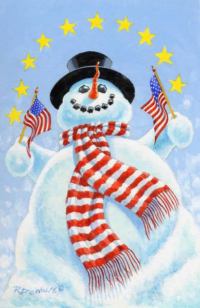 Snowman Wall Art - Painting - Celebrate by Richard De Wolfe