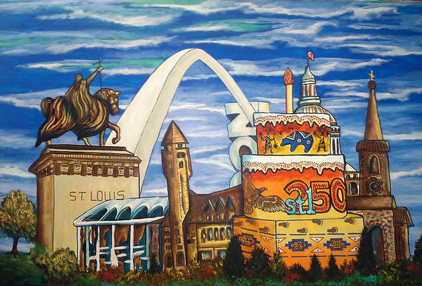 St Louis Arch Painting - Celebrate-stl 250 by Mark SWAIN