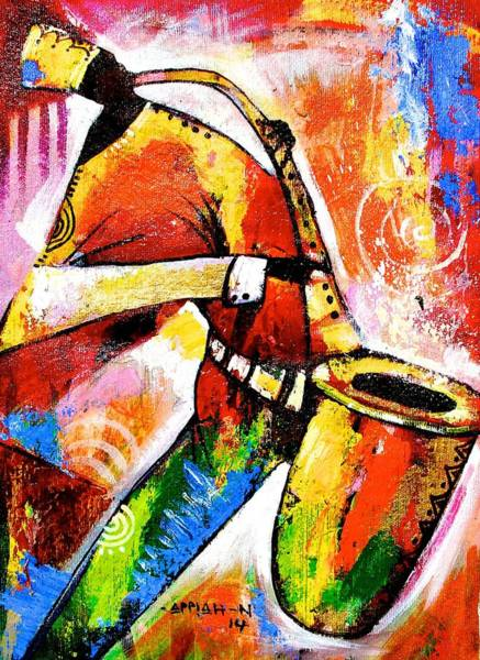 Painting - Celebrating Music by Appiah Ntiaw