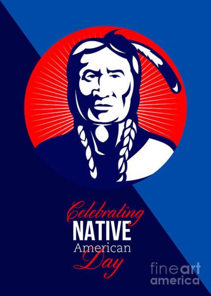 Indian Brave Digital Art - Celebrating Native American Day Retro Greeting Card by Aloysius Patrimonio