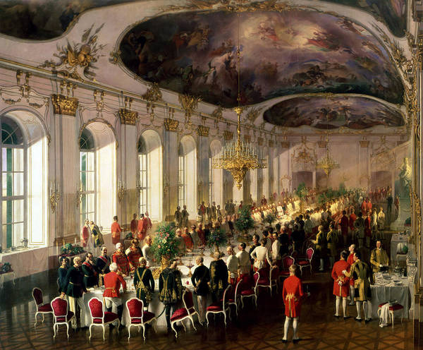 Wall Art - Painting - Celebration On The Occasion Of The Anniversary Of The Military Order Of Maria Theresa, 1861 by Siegmund L'Allemand