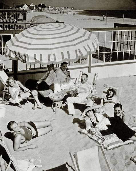 Water Photograph - Celebrities On A Beach by Edward Steichen