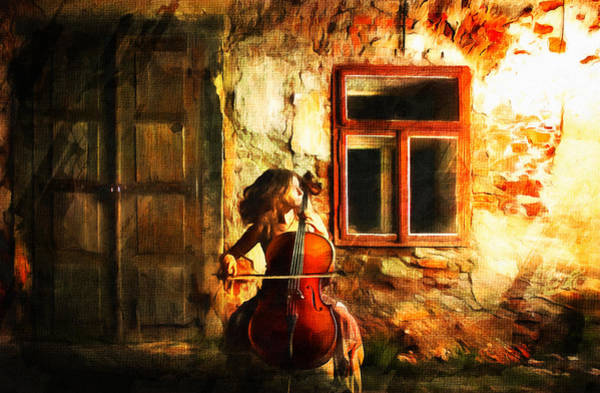 Cellist By Night Art Print