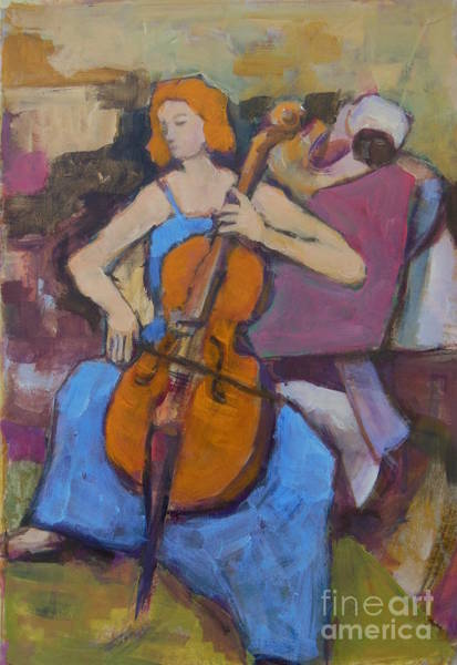 Cellist Painting - Cellist Painting by Johannes Strieder