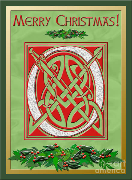 Granite Digital Art - Celtic Christimas O Initial by Melissa A Benson