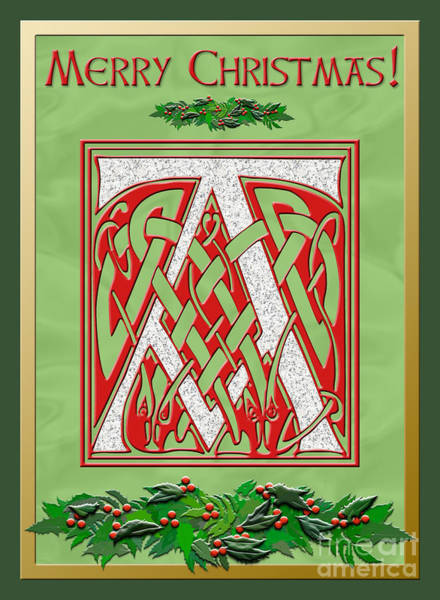 Granite Digital Art - Celtic Christmas A Initial by Melissa A Benson