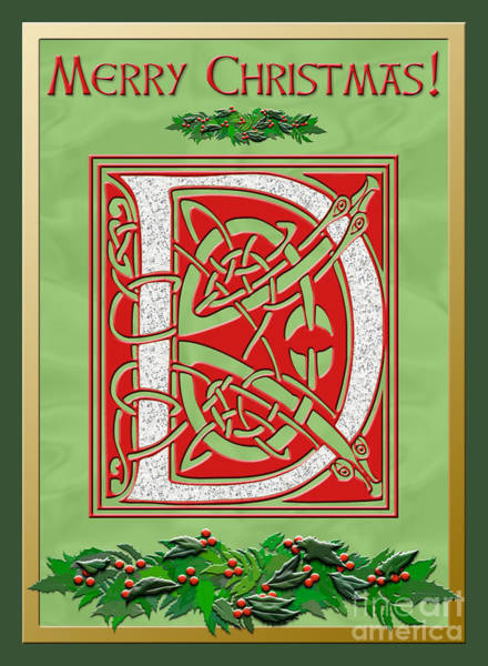 Granite Digital Art - Celtic Christmas D Initial by Melissa A Benson
