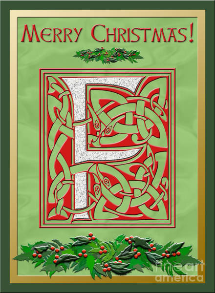 Granite Digital Art - Celtic Christmas F Initial by Melissa A Benson