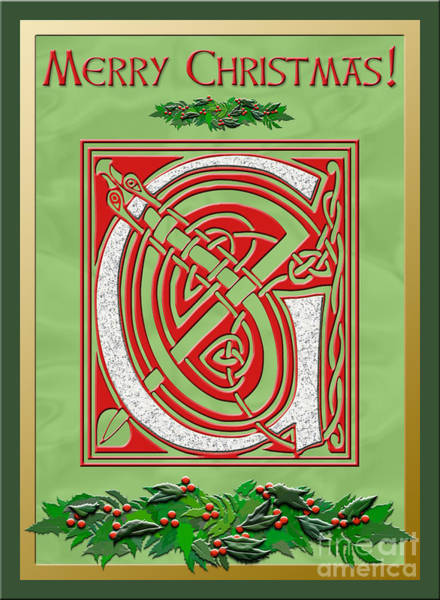 Granite Digital Art - Celtic Christmas G Initial by Melissa A Benson