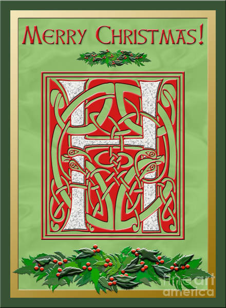 Granite Digital Art - Celtic Christmas H Initial by Melissa A Benson