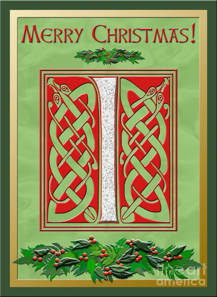 Granite Digital Art - Celtic Christmas I Initial by Melissa A Benson