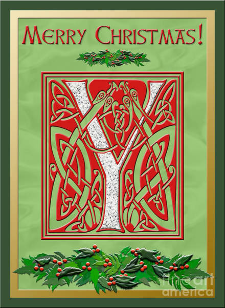 Granite Digital Art - Celtic Christmas Initial Y by Melissa A Benson