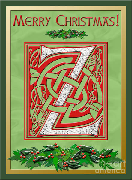 Granite Digital Art - Celtic Christmas Initial Z by Melissa A Benson