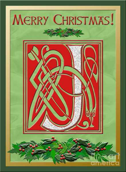 Granite Digital Art - Celtic Christmas J Initial by Melissa A Benson