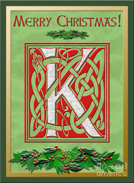Granite Digital Art - Celtic Christmas K Initial by Melissa A Benson