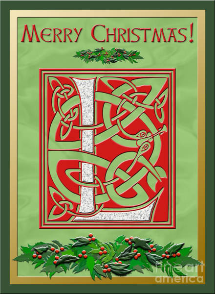 Granite Digital Art - Celtic Christmas L Initial by Melissa A Benson