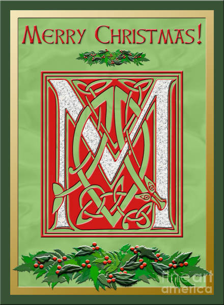 Granite Digital Art - Celtic Christmas M Initial by Melissa A Benson
