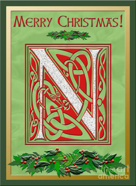 Granite Digital Art - Celtic Christmas N Initial by Melissa A Benson