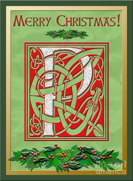 Granite Digital Art - Celtic Christmas P Initial by Melissa A Benson