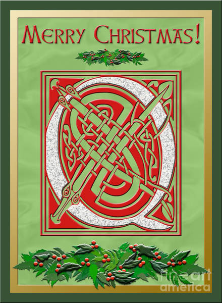 Granite Digital Art - Celtic Christmas Q Initial by Melissa A Benson