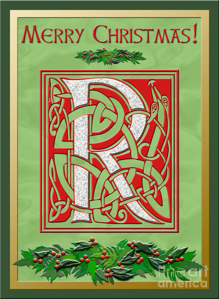 Granite Digital Art - Celtic Christmas R Initial by Melissa A Benson