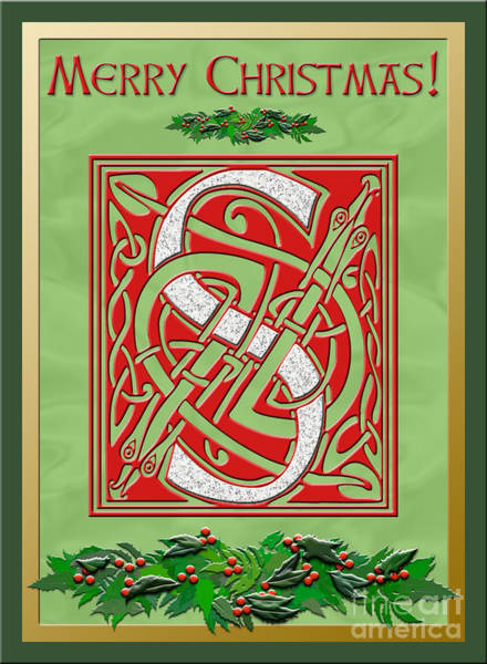 Granite Digital Art - Celtic Christmas S Initial by Melissa A Benson