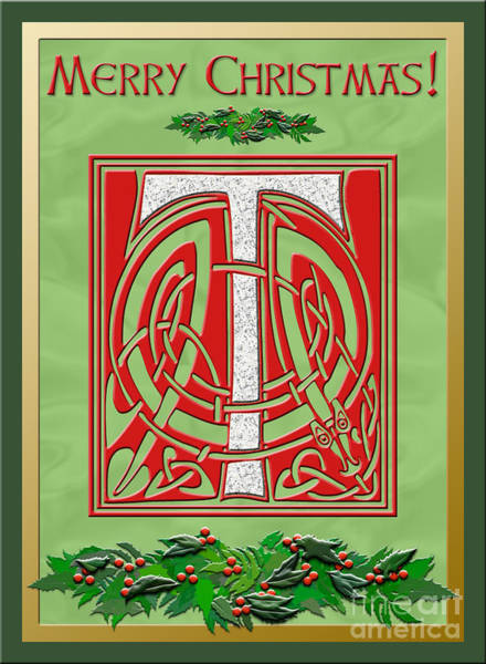 Granite Digital Art - Celtic Christmas T Initial by Melissa A Benson