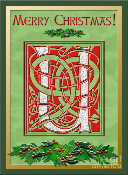 Granite Digital Art - Celtic Christmas U Initial by Melissa A Benson