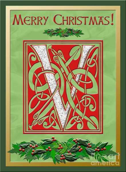 Granite Digital Art - Celtic Christmas V Initial by Melissa A Benson