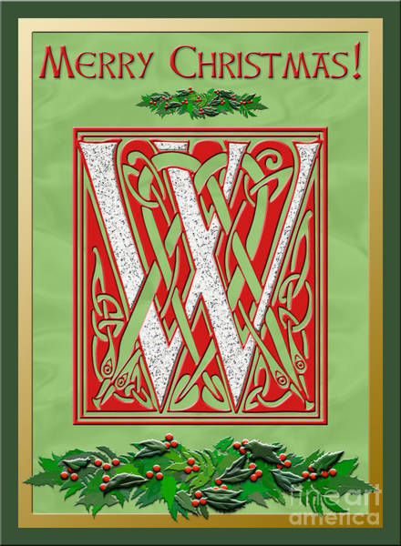 Granite Digital Art - Celtic Christmas W Initial by Melissa A Benson
