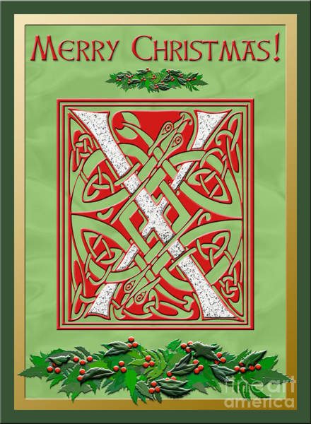 Granite Digital Art - Celtic Christmas X Initial by Melissa A Benson