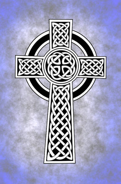 Tribal Digital Art - Celtic Cross Blue by Daniel Hagerman